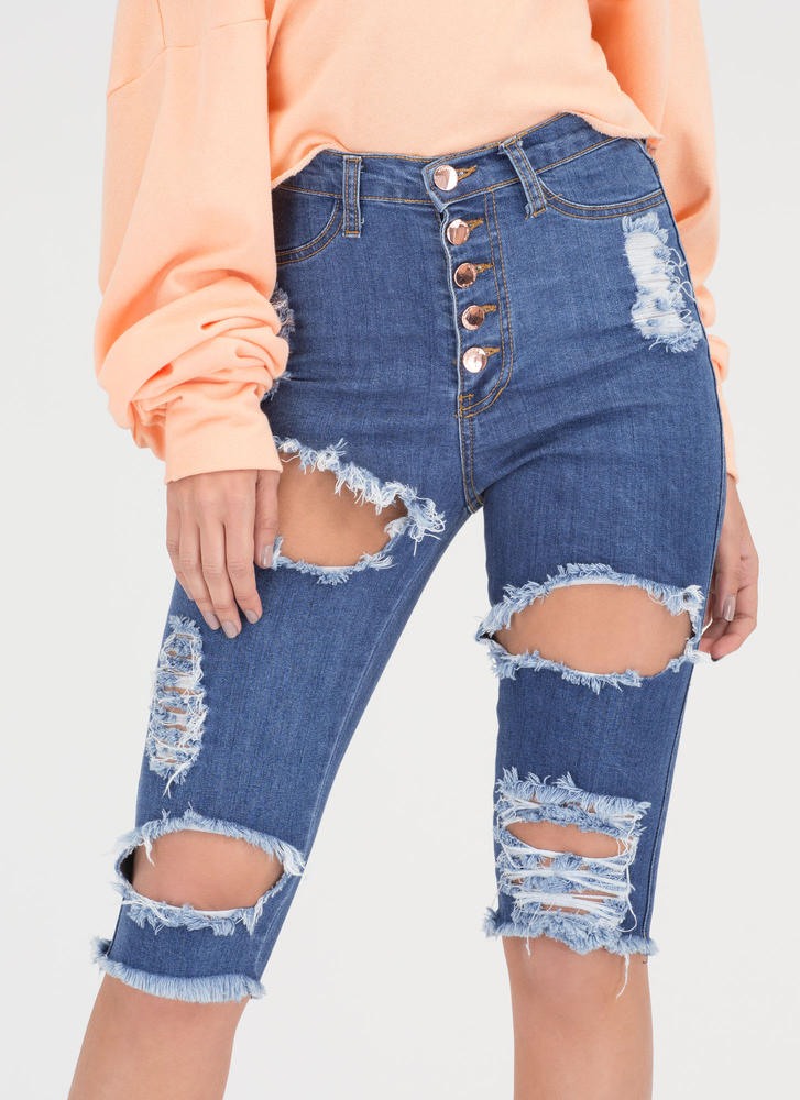 Casual Trip Distressed Denim Shorts BLUE (Final Sale)