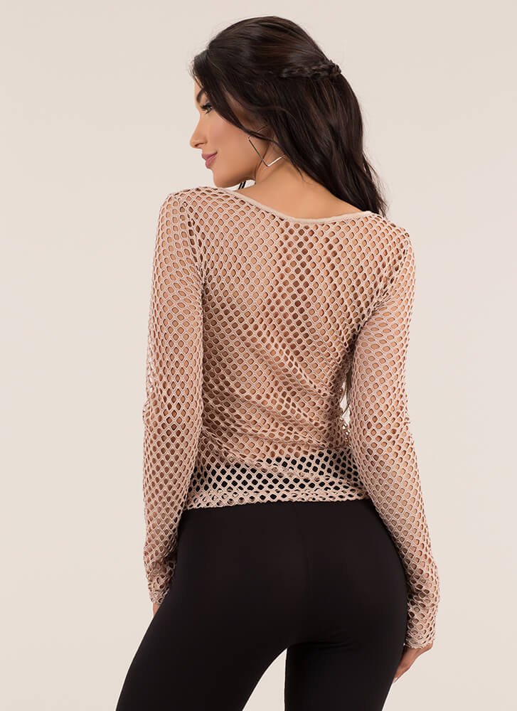 Into The Net Sheer Long-Sleeve Top NUDE