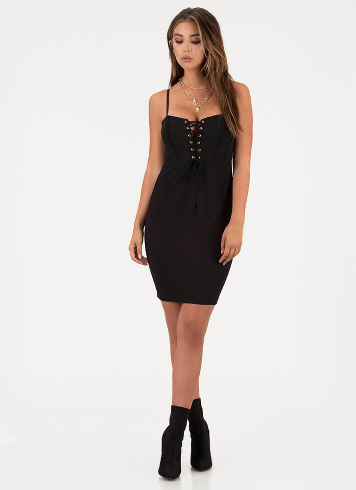 Romance Me Lace-Up Bodycon Dress BLACK