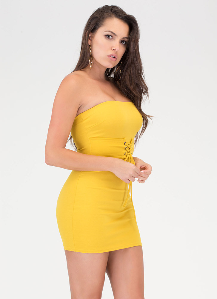 I Feel Good Strapless Lace-Up Dress MUSTARD