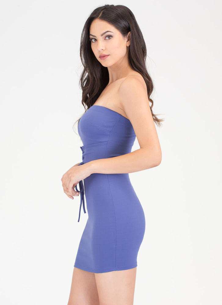 I Feel Good Strapless Lace-Up Dress ROYAL