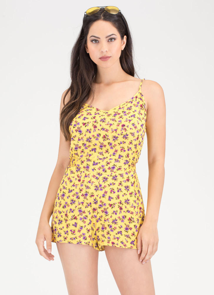 Bloom Mate Plunging Floral Romper YELLOW