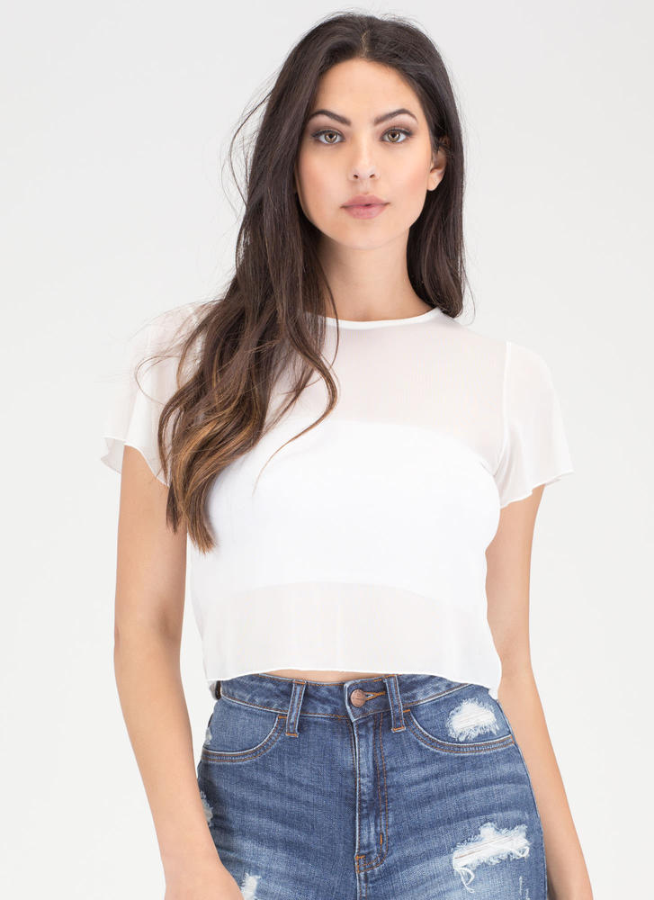 Sheer Us What You've Got Mesh Top WHITE