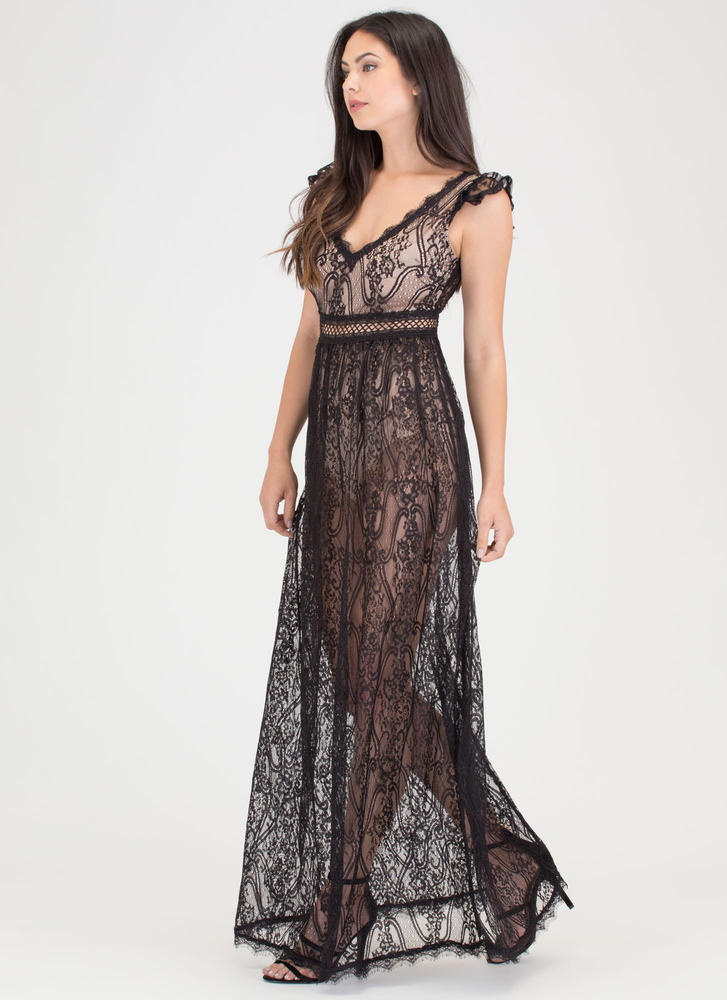 Lovely Lace Sheer Cut-Out Maxi Dress BLACK
