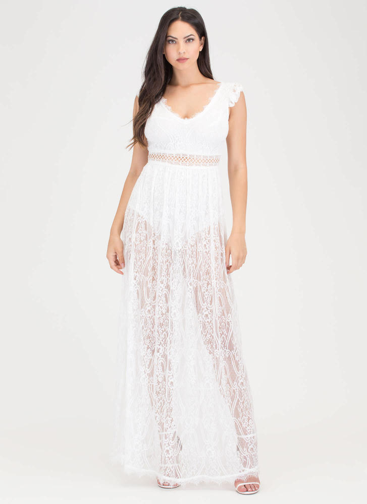 Lovely Lace Sheer Cut-Out Maxi Dress WHITE