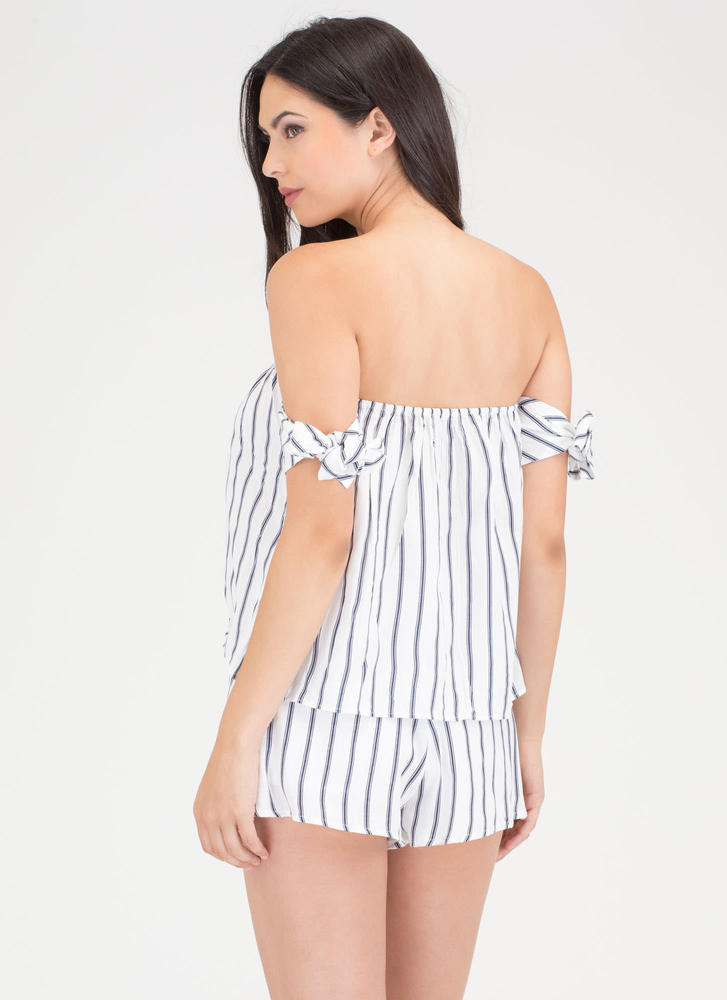 Just My Stripe Tied Off-Shoulder Set WHITE