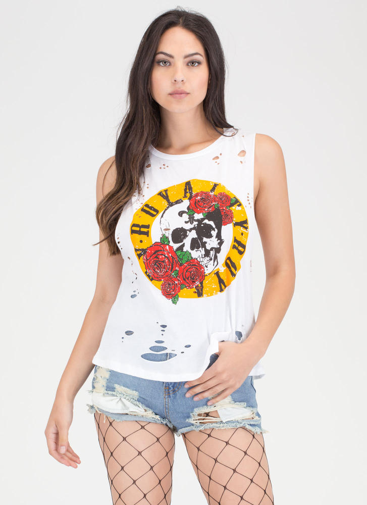 Royalty Skull And Rose Distressed Tank WHITE