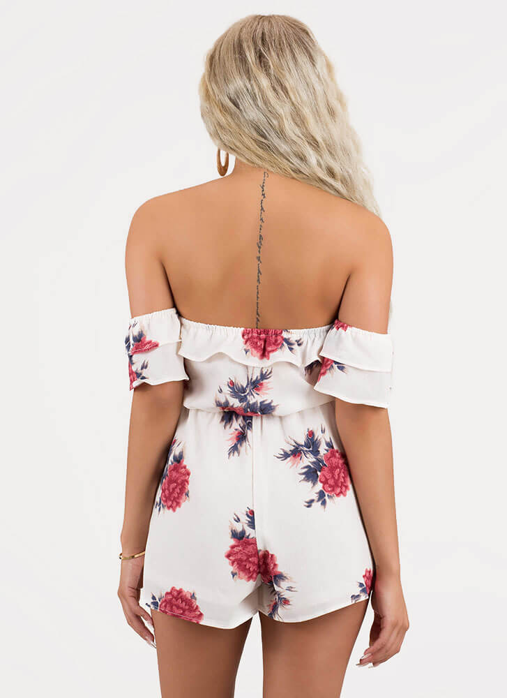 Fleur Sure Off-Shoulder Floral Romper IVORY