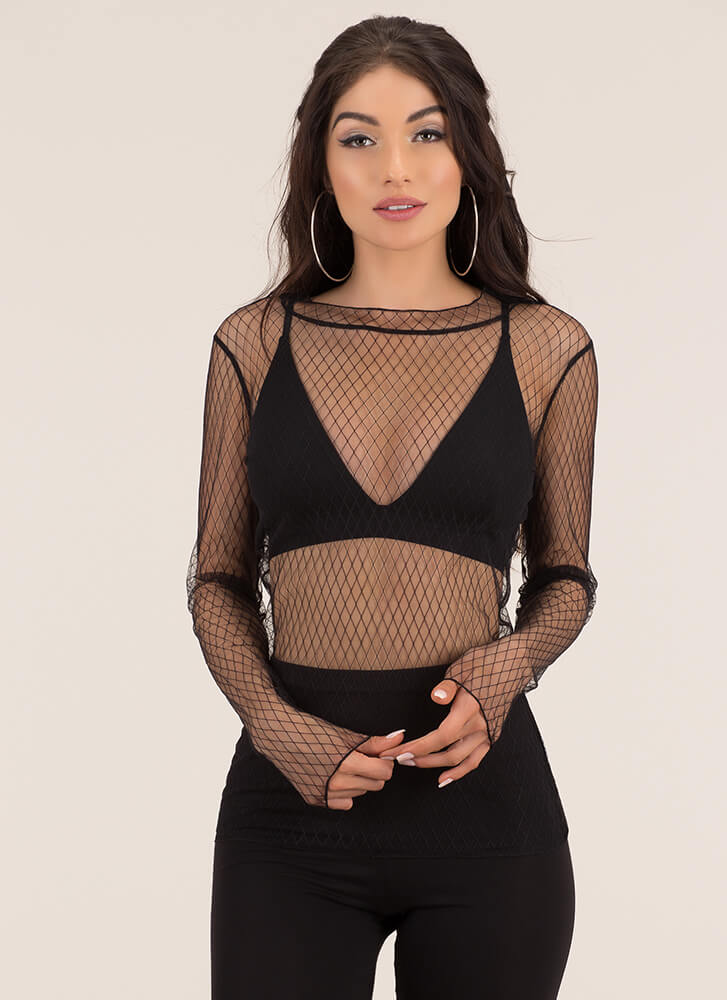 Diamond Friend Sheer Lace Blouse BLACK