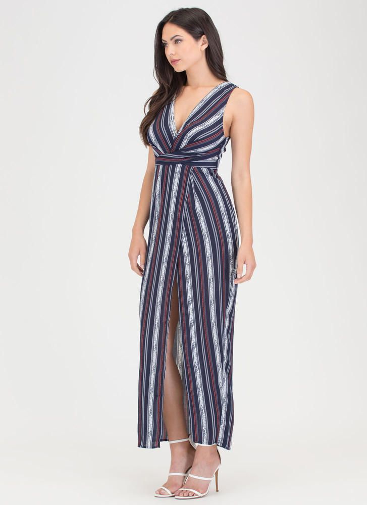 Lined Up Next Striped Faux Wrap Maxi NAVY (Final Sale)