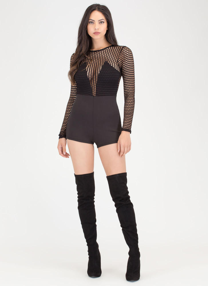 Dot Net Plunging Sports Mesh Romper BLACK
