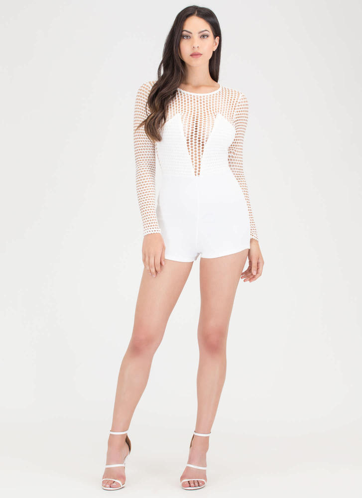 Dot Net Plunging Sports Mesh Romper WHITE
