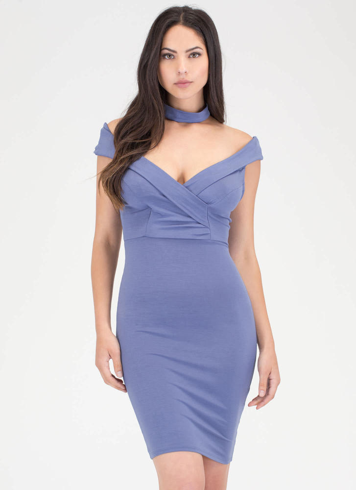 Glam Off-Shoulder Choker Midi Dress BLUE