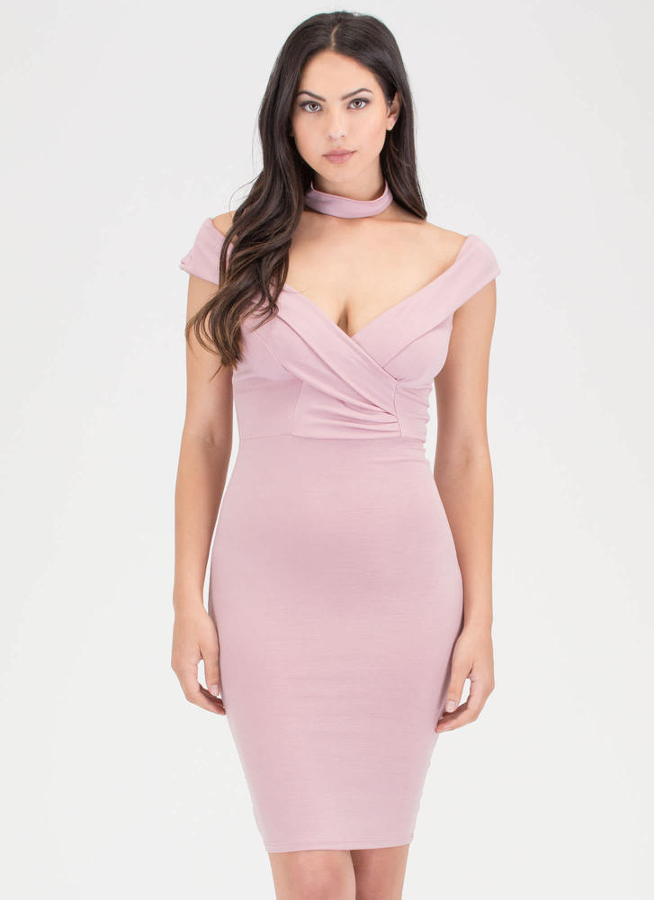 Glam Off-Shoulder Choker Midi Dress ROSE