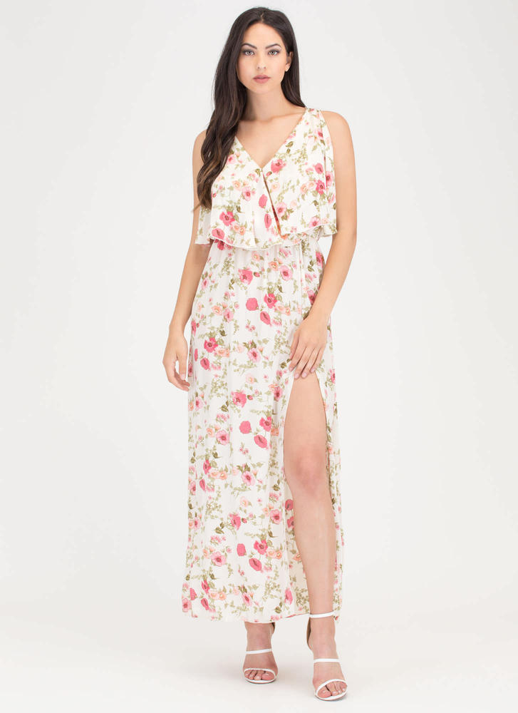 Garden View Tiered Floral Maxi Dress IVORY
