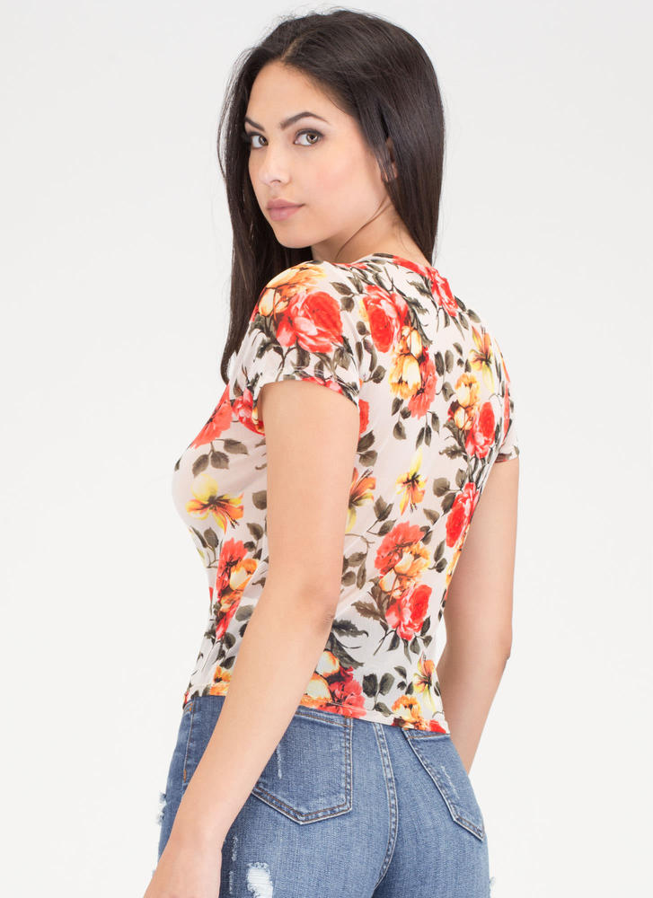 All Flowers All The Time Sheer Mesh Top TAUPE