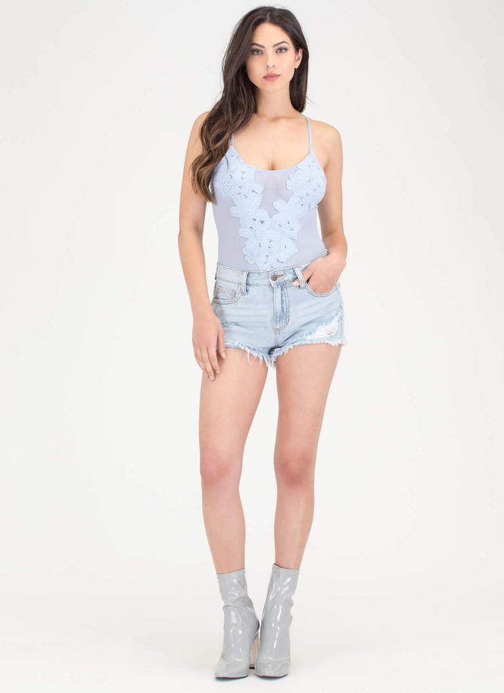 Flower Power Sheer Mesh Bodysuit BLUE
