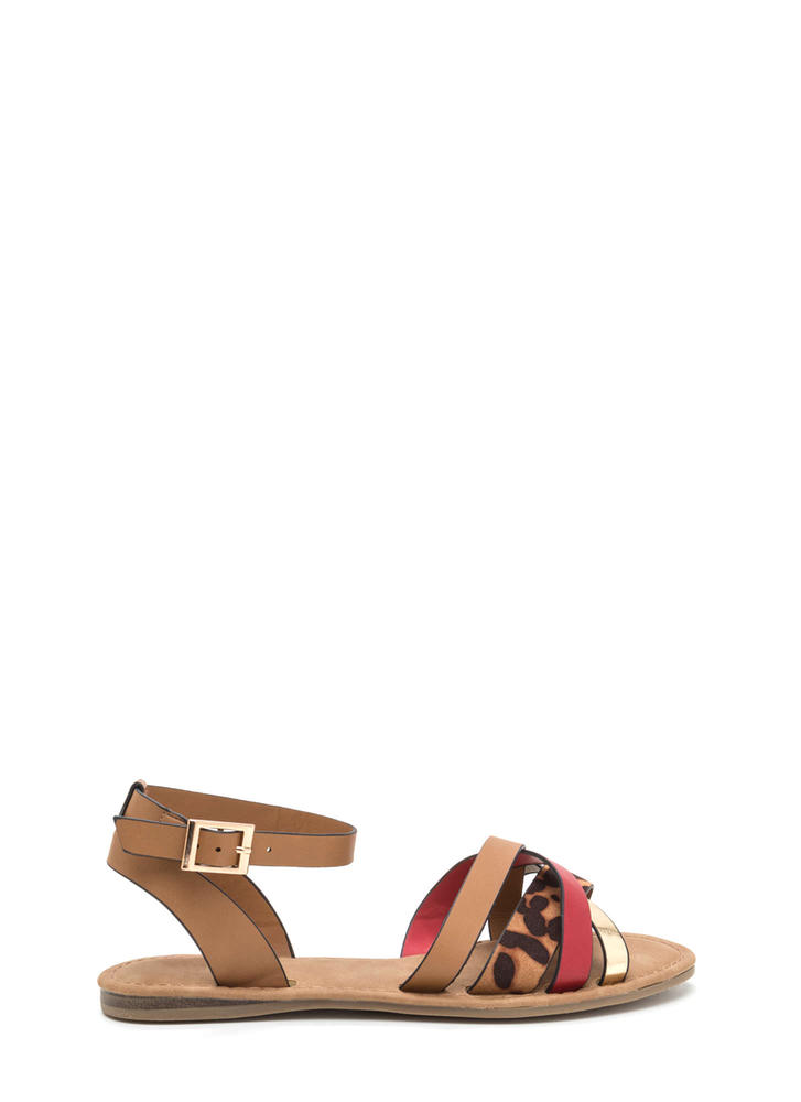 Strappy Day Mixed Media Sandals RED