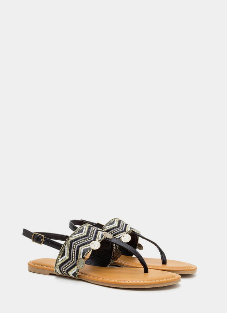 Boho Dance Embellished T-Strap Sandals BLACK