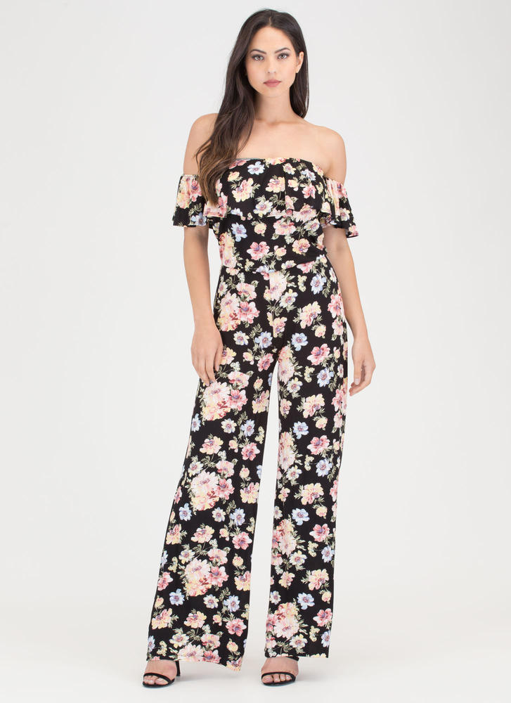 Bloom To Grow Off-Shoulder Jumpsuit BLACK