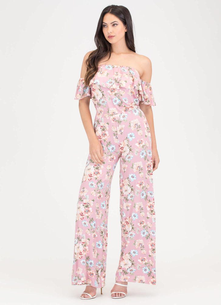 Bloom To Grow Off-Shoulder Jumpsuit MAUVE