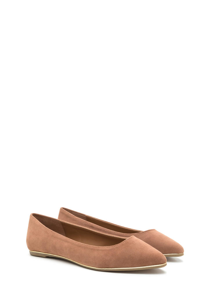 Toe To Toe Pointy Faux Suede Flats CAMEL