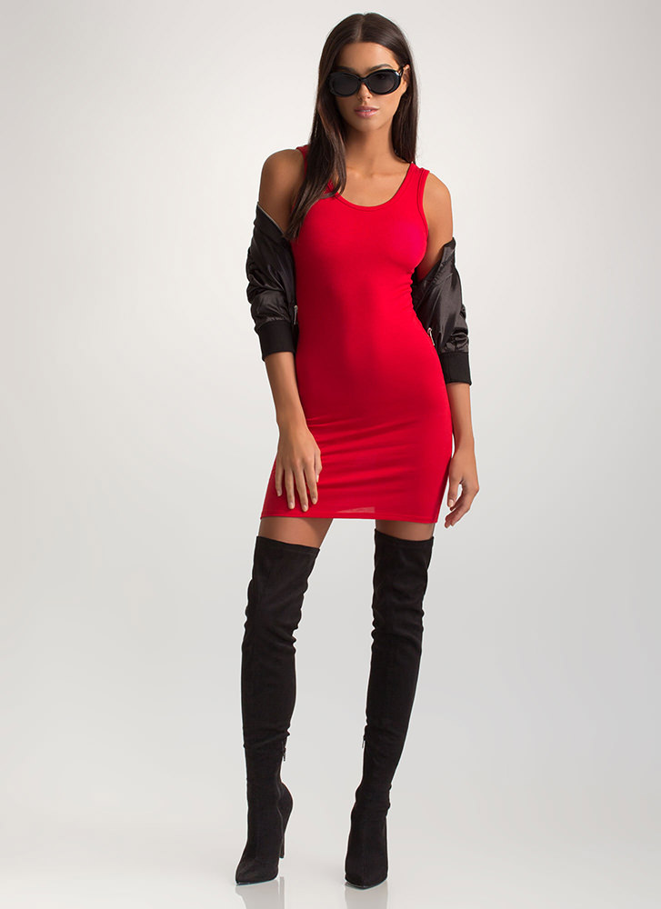Plain And Simple Basic Tank Minidress RED