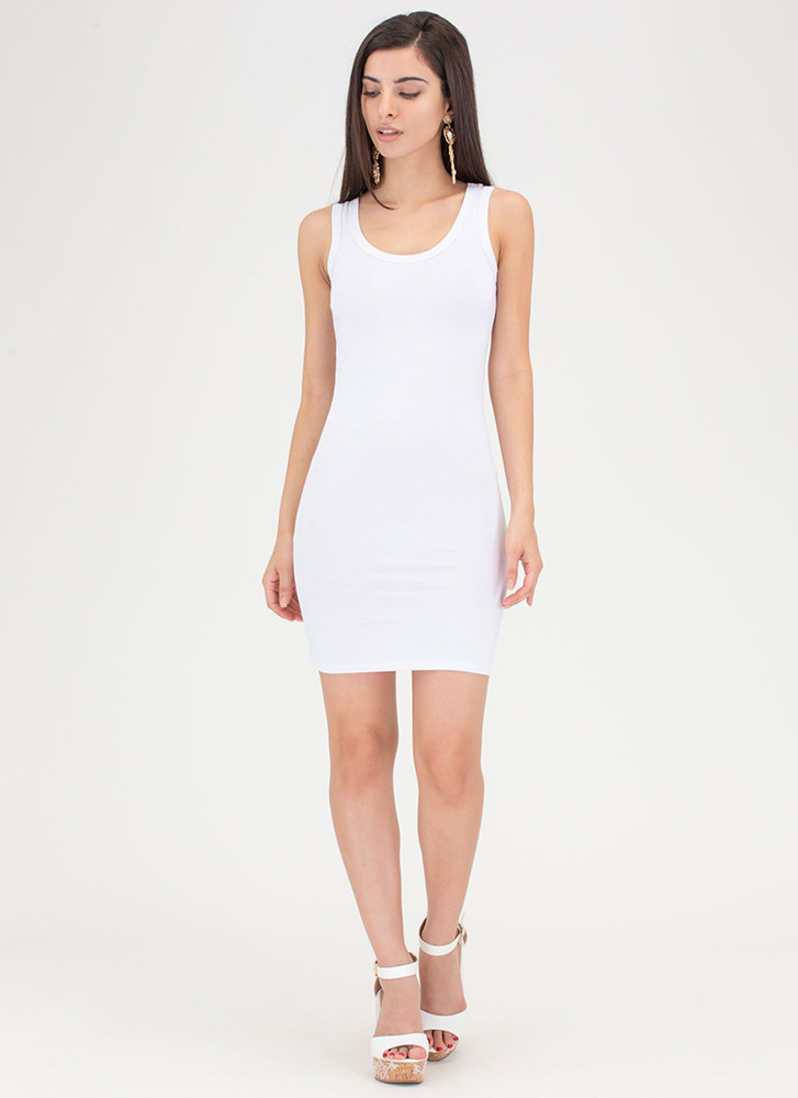 Plain And Simple Basic Tank Minidress WHITE