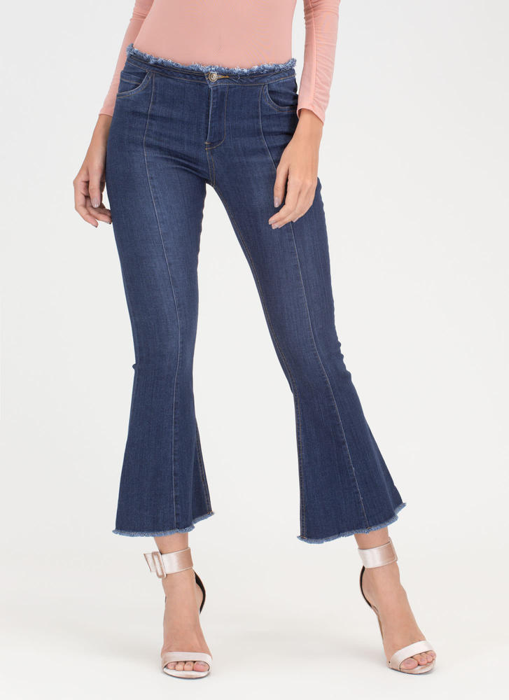 Flare For Drama Cropped Jeans DKBLUE