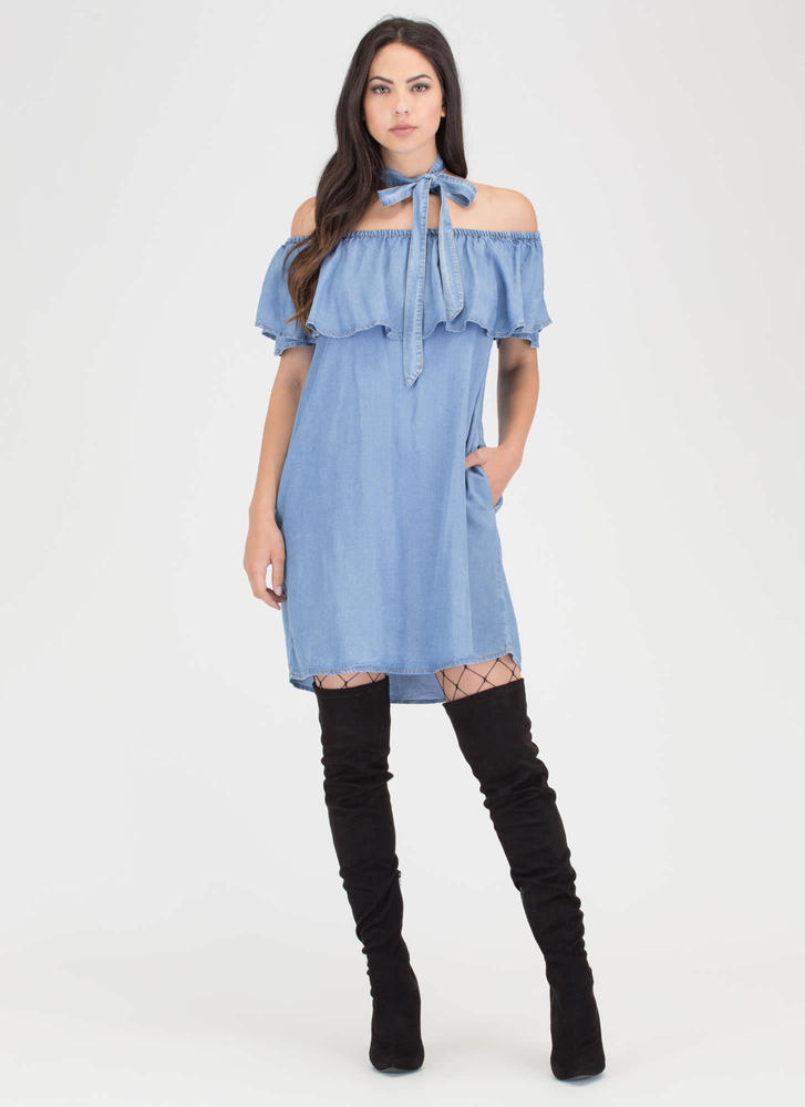 It's Tied Off-Shoulder Chambray Dress BLUE