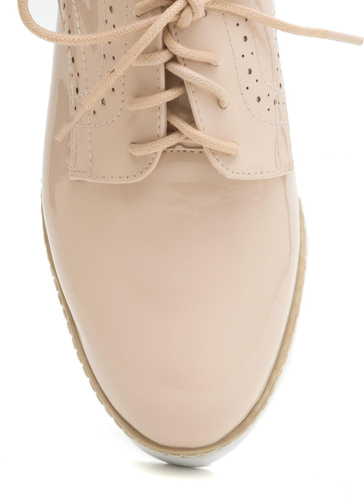 Next Step Cut-Out Oxford Platform Flats NUDE