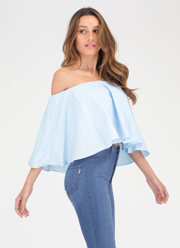 Talk Is Chic Off-Shoulder Crop Top LTBLUE