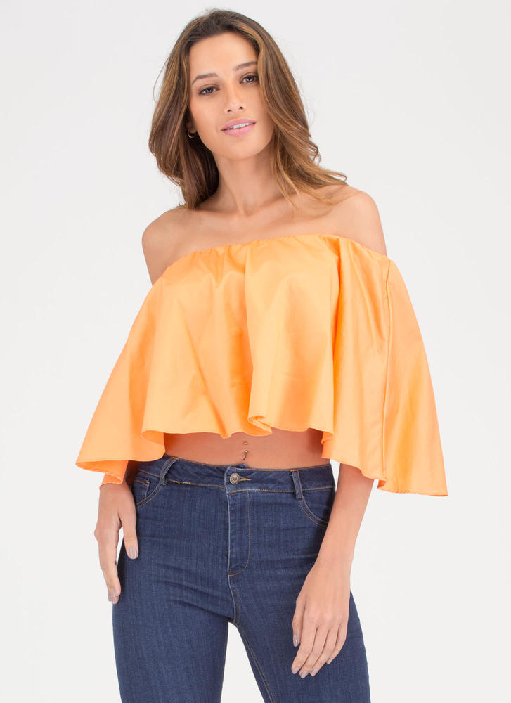 Talk Is Chic Off-Shoulder Crop Top ORANGE