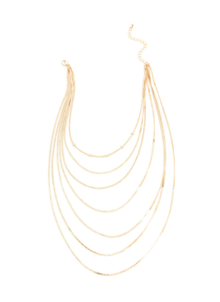 Sleek Inspiration Layered Chain Necklace GOLD