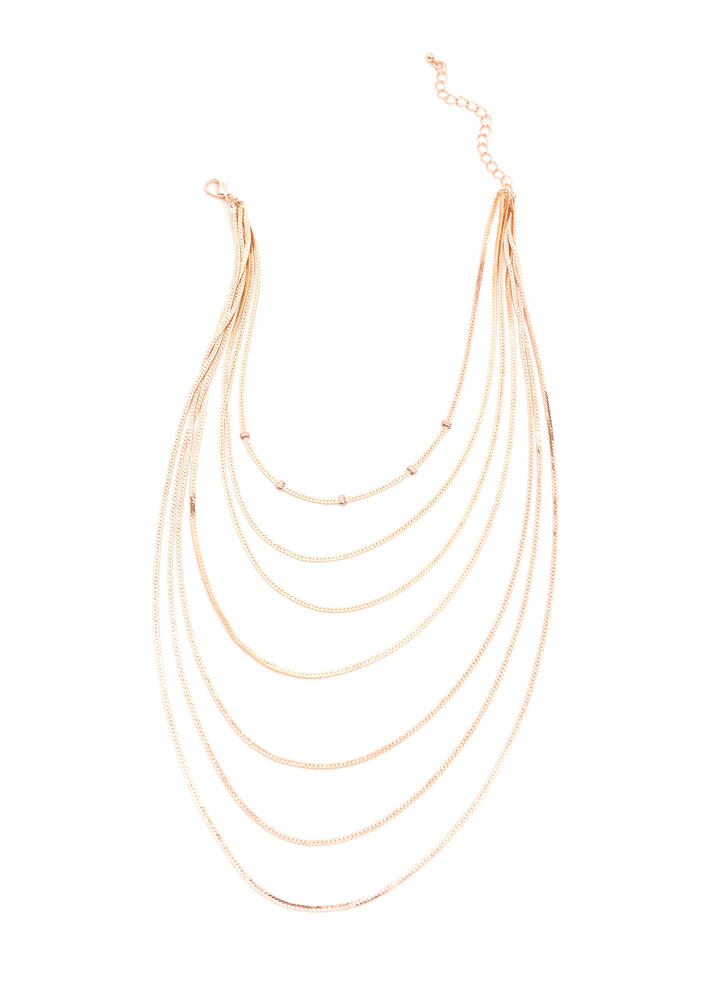 Sleek Inspiration Layered Chain Necklace ROSEGOLD