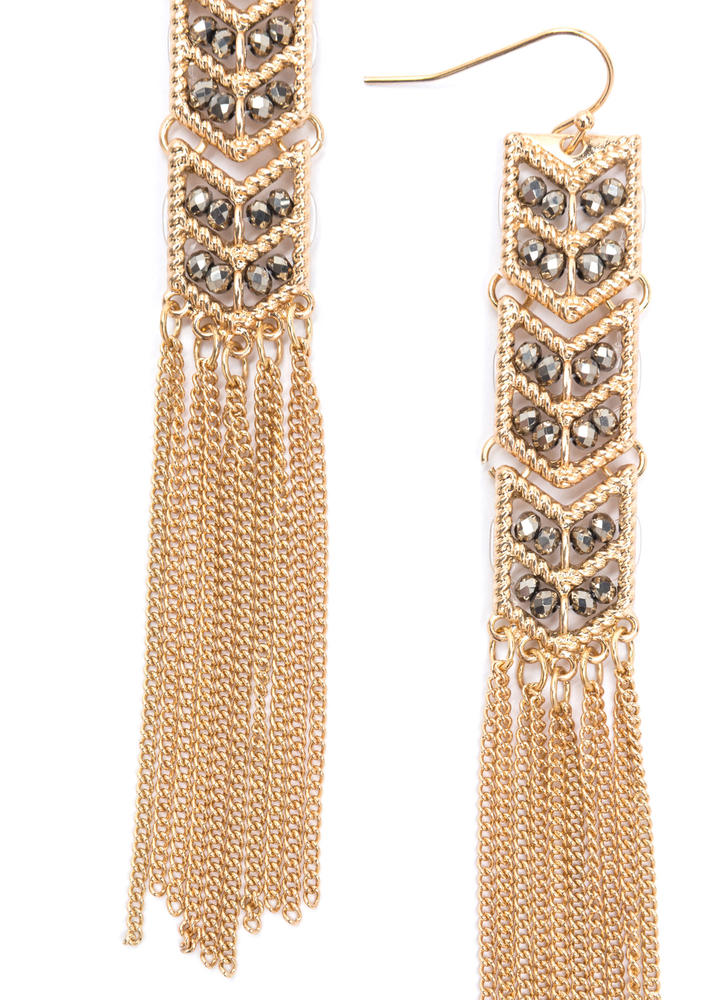 Art Deco Treasure Fringed Earrings GOLDGREY
