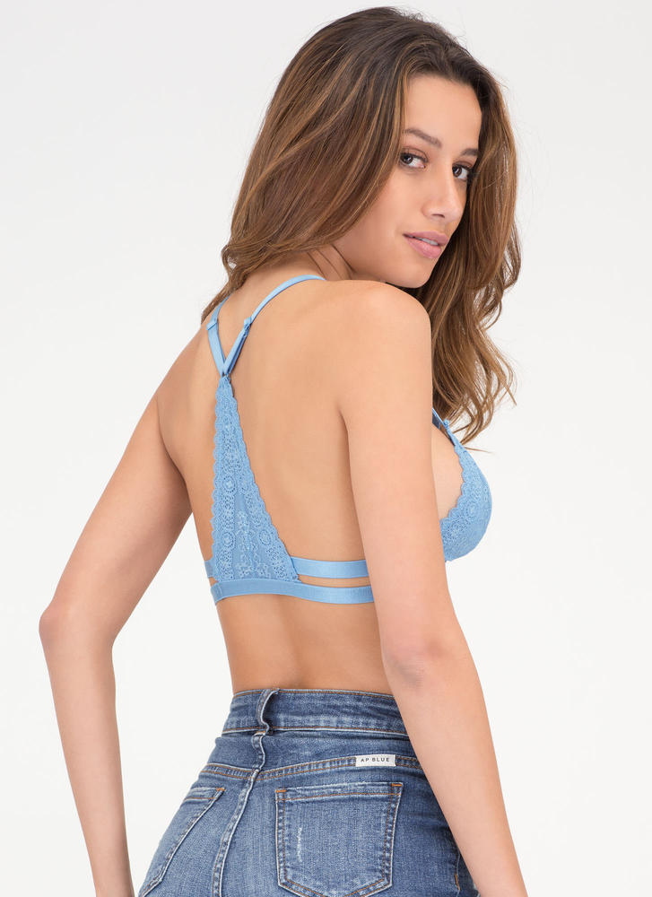 Sheer Romance Triangle Lace Bralette BLUE