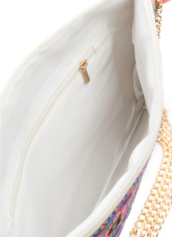 Worth The Tassel Embroidered Clutch MULTI