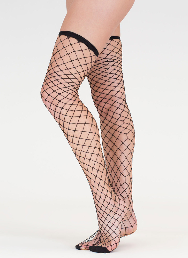 Next Level Fishnet Thigh-High Stockings BLACK