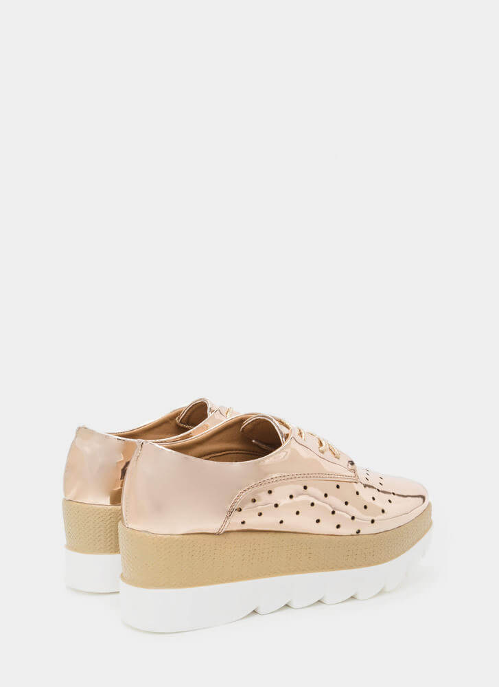 Sleek Peek Perforated Platform Wedges ROSEGOLD