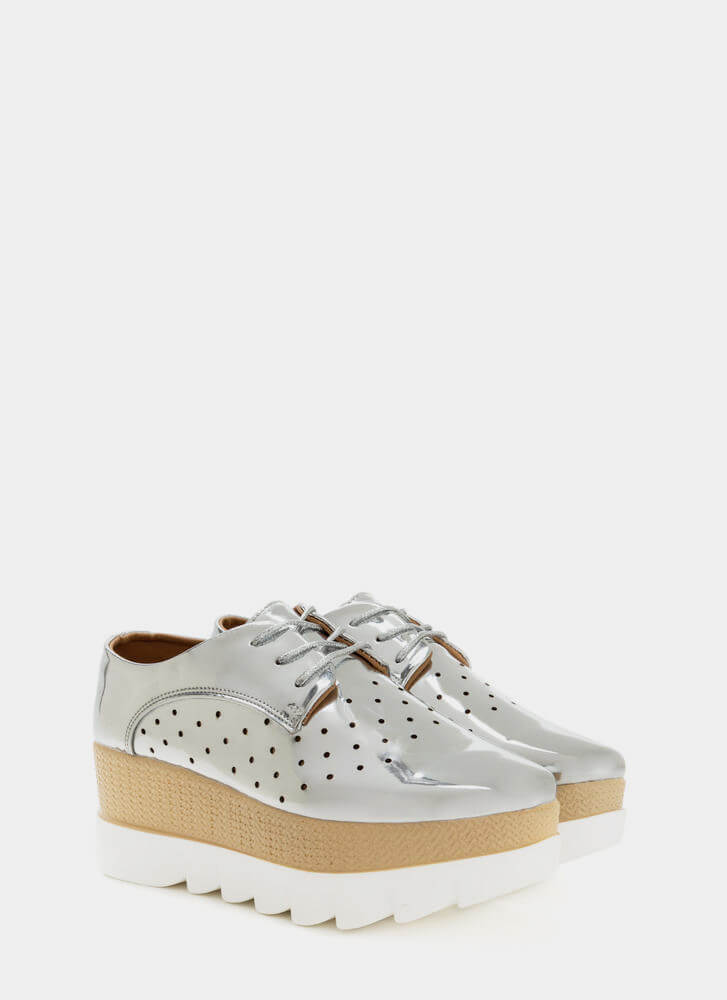Sleek Peek Perforated Platform Wedges SILVER