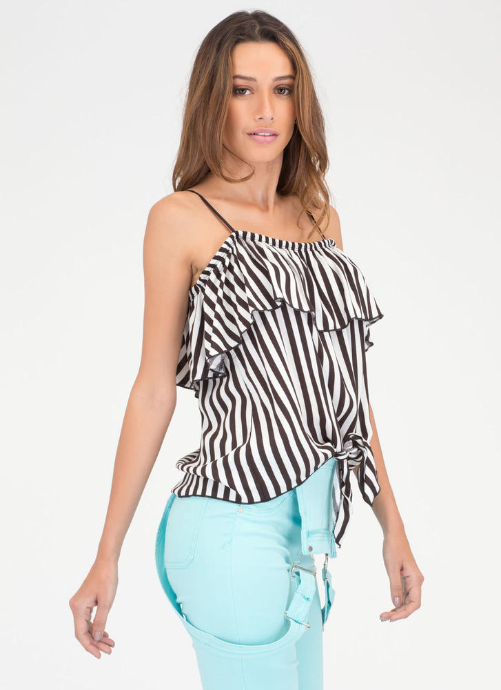Earn Stripes Knotted Off-Shoulder Top BLACKWHITE