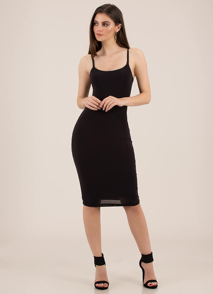 Lasting Impression Cami Midi Dress BLACK