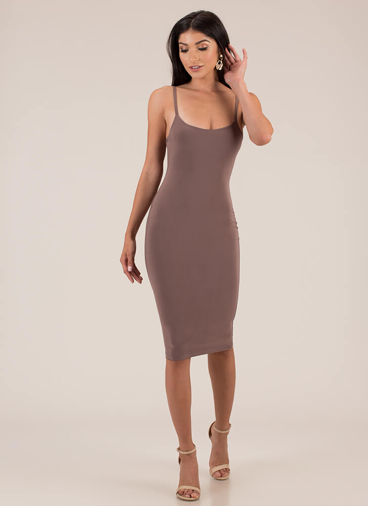 Lasting Impression Cami Midi Dress MOCHA