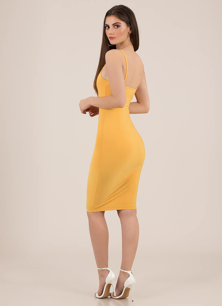 Lasting Impression Cami Midi Dress MUSTARD