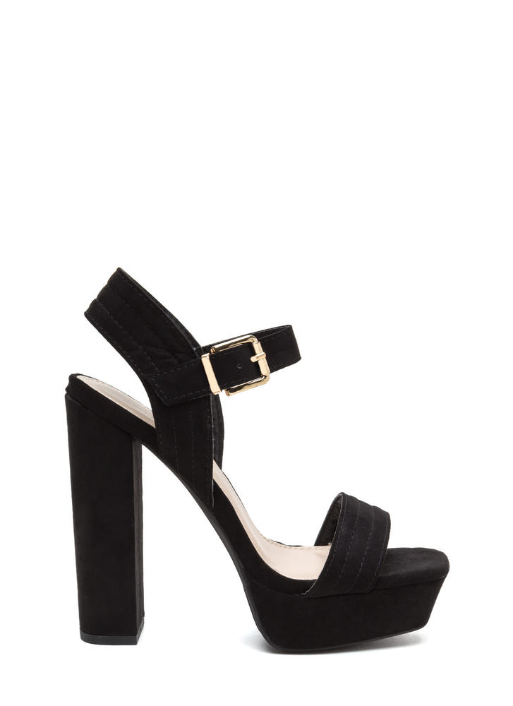 Oh Strappy Day Chunky Faux Suede Heels BLACK