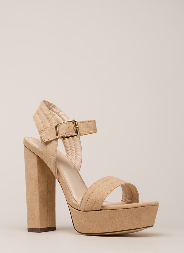 Oh Strappy Day Chunky Faux Suede Heels NUDE - GoJane.com