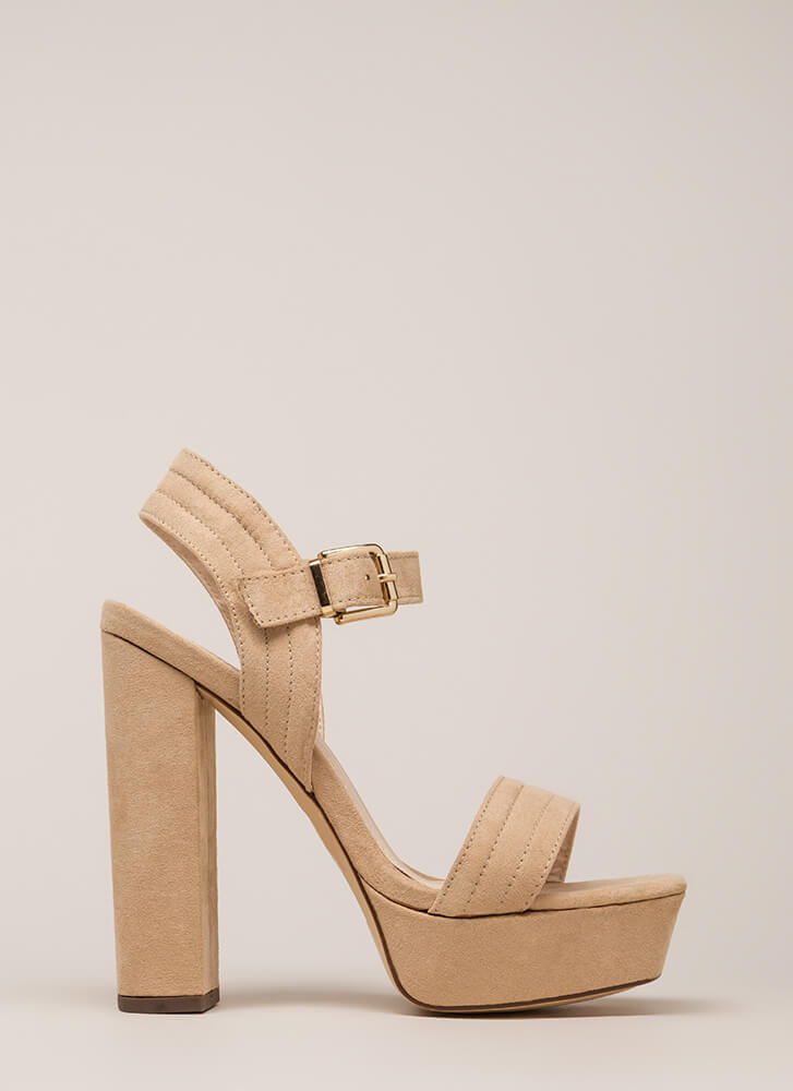 Oh Strappy Day Chunky Faux Suede Heels NUDE