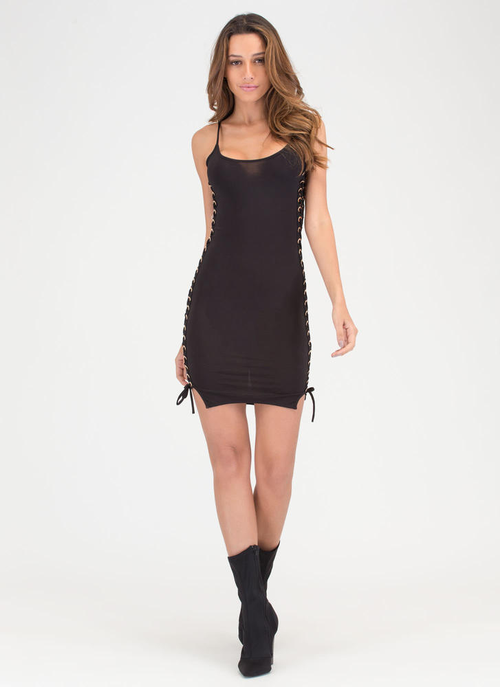 Laced 'N Loaded Cami Minidress BLACK (Final Sale)