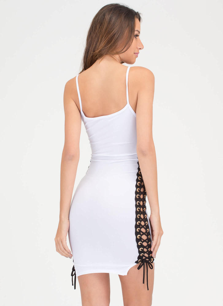 Laced 'N Loaded Cami Minidress WHITE (Final Sale)